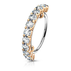 Lävistysrengas, Half Circle Lined CZ Bendable Hoop Ring in Rosegold 0,8mm/8mm