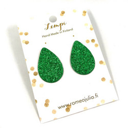 LEMPI-korvanapit, Pisara XL (vihreä glitter)