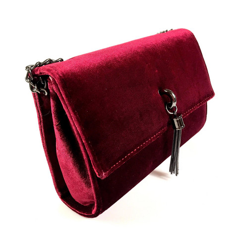 Laukku/DL.PARIS|Burgundy Velvet Handbag with Tassel