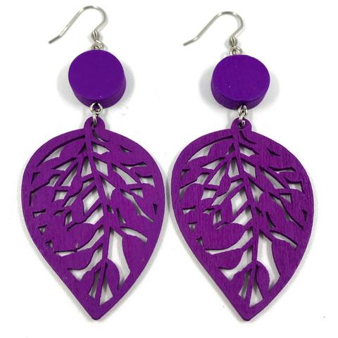 Puiset korvakorut, Lehti (violetti)