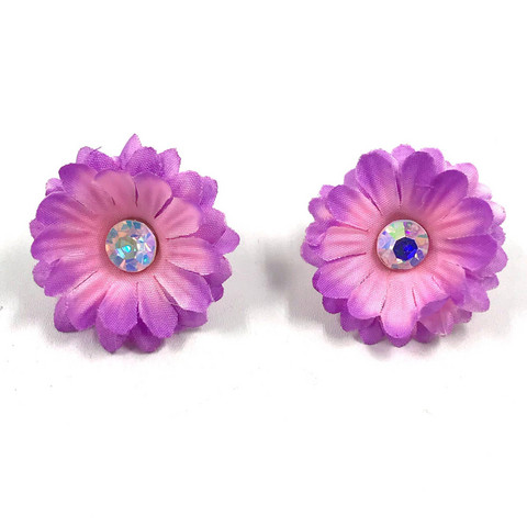 Korvanapit, 50's Flower (light purple with one crystal)