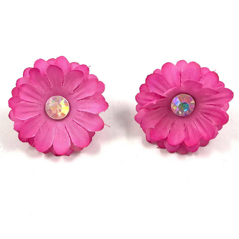 Korvanapit, 50's Flower (pink with one crystal)