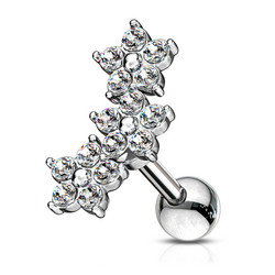 Rustokoru/traguskoru, Cubic Zirconia Three Flower Cluster in Clear