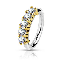 Lävistysrengas, Bendable Hoop Ring With 5 Lined CZ in Gold 1mm/8mm