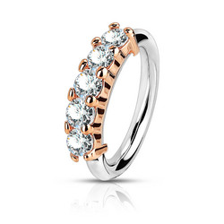 Lävistysrengas, Bendable Hoop Ring With 5 Lined CZ in Rosegold 1mm/8mm