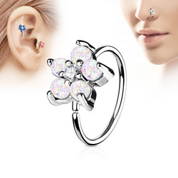 Lävistysrengas, nenärengas Opal Glitter Set Flower Petals 316L Surgical Steel Hoop Ring in White