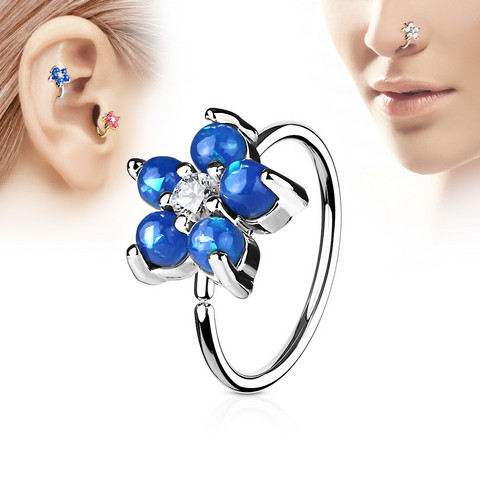Lävistysrengas, nenärengas Opal Glitter Set Flower Petals 316L Surgical Steel Hoop Ring in Dark Blue