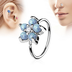 Lävistysrengas, nenärengas Opal Glitter Set Flower Petals 316L Surgical Steel Hoop Ring in Soft Blue
