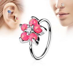 Lävistysrengas, nenärengas Opal Glitter Set Flower Petals 316L Surgical Steel Hoop Ring in Pink
