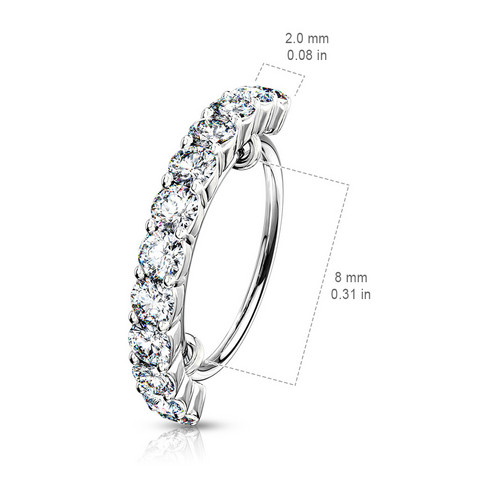 Lävistysrengas, Half Circle Lined CZ Bendable Hoop Ring 1mm/8mm
