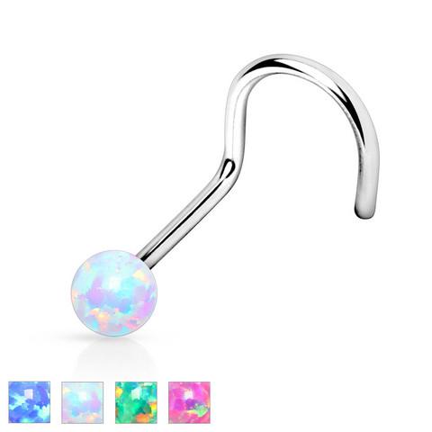 Nenäkoru, Opal Ball 316L Surgical Steel Nose Screw 0,8mm