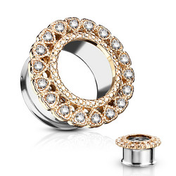 Tunneli 14mm, Gemmed Heart Circular Array Front in Rosegold