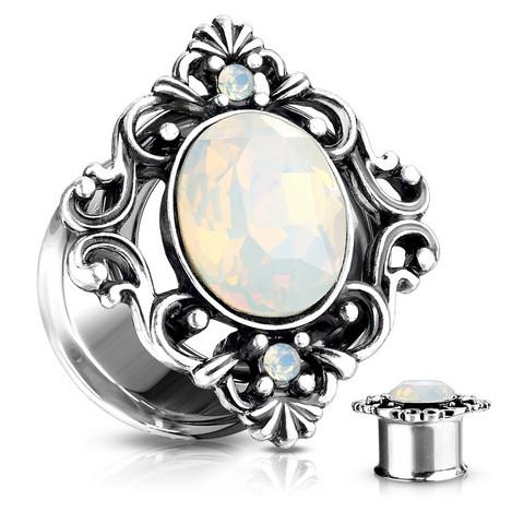 Plugi 10mm, White Oval Opalite