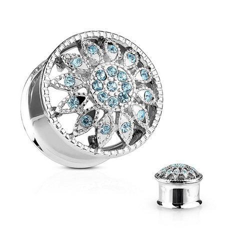Plugi 10mm, Crystal Paved Flower