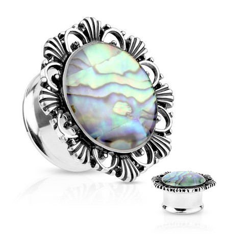 Plugi 10mm, Abalone Shell Vintage Flower