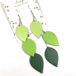 LEMPI-korvakorut, Lehdet (3-os, vaaleanvihreä-vihreä-tummanvihreä)