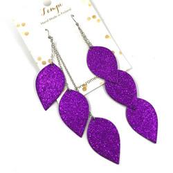 LEMPI-korvakorut, Lehdet (3-os, violetti glitter)