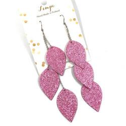 LEMPI-korvakorut, Lehdet (3-os, vaaleanpunainen glitter)