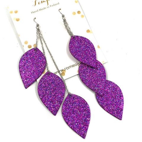 LEMPI-korvakorut, Lehdet (3-os, multicolor violetti glitter)