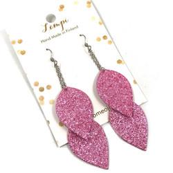 LEMPI-korvakorut, Lehdet (2-os, vaaleanpunainen glitter)