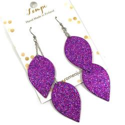 LEMPI-korvakorut, Lehdet (2-os, multicolor violetti glitter)