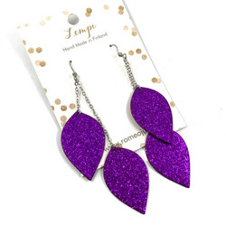 LEMPI-korvakorut, Lehdet (2-os, violetti glitter)