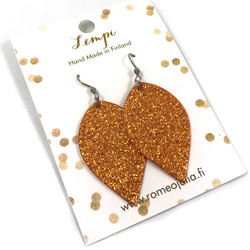 LEMPI-korvakorut, Lehdet (oranssi glitter, 1-os)