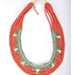 Kaulakoru/ATOLL-PALME,  Beads Collar in Coral