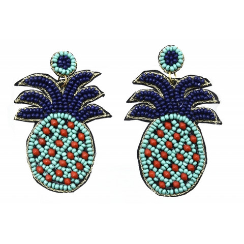 Korvakorut/ATOLL-PALME, Pineapple Earrings in Blue & Turqoise