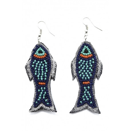 Korvakorut/ATOLL-PALME, Fish Earrings in Blue & Turqoise