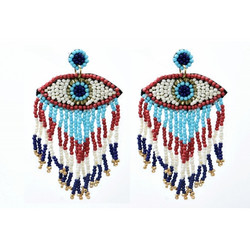 Korvakorut/ATOLL-PALME, Eye Earrings in Blue & Turqoise