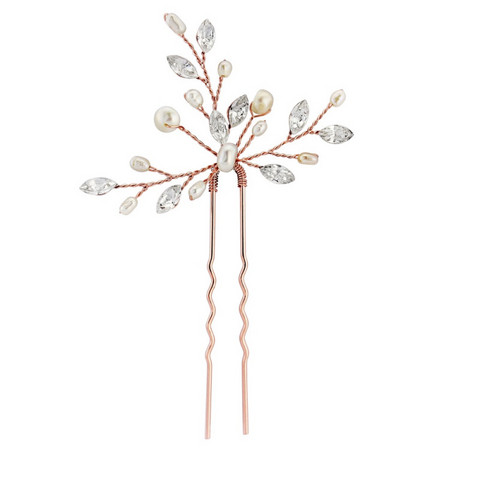 Hiuskoru, ATHENA BRIDAL|Rosegold Hairpin with Freshwater Pearls
