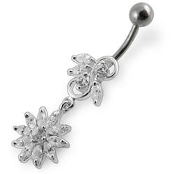 Hopeinen napakoru titaanivarrella, Kirkas kristalli, Winter Flower (9mm)