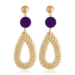 Puukorvakorut, rottinkikorvakorut/Teardrop Rattan Earrings with Purple Wooden Pearl