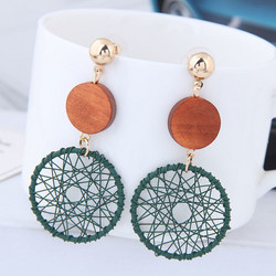 Korvakorut, Round Retro Earrings in Green