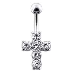 Hopeinen napakoru titaanivarrella (8mm), Crystal Cross