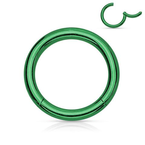 Lävistysrengas, Hinged Segment Ring in Green 1,2mm/useita kokoja