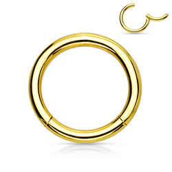 Lävistysrengas, Hinged Segment Ring in Gold 1mm/useita kokoja