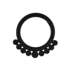 Lävistysrengas, 1,6mm Black Clicker with Ball Decoration