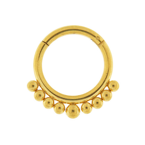 Lävistysrengas, 1,6mm Gold Clicker with Ball Decoration
