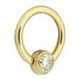 Lävistysrengas, BCR, (titaani) Flat Back Zirconline Jewelled Ball  1,2mm/8mm