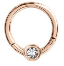 Lävistysrengas, Hinged Smiley Ring in Rosegold (1,2mm/useita halkaisijoita)