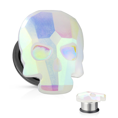 Plugi 10mm, AB Skull in White