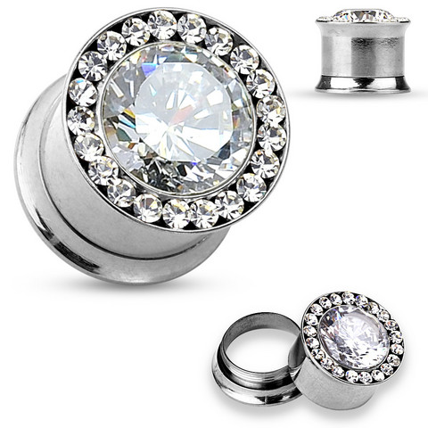 Plugi 12mm, Large  Centered CZ