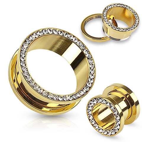 Tunneli 14mm, Multi Gemmed Gold