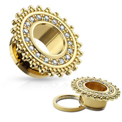 Tunneli 16mm, CZ Paved Tribal Shield Top Gold