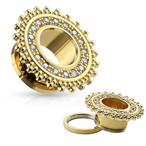 Tunneli 8mm, CZ Paved Tribal Shield Top Gold