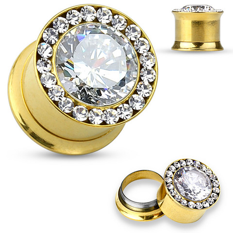 Plugi 12mm, Large Centered CZ in Gold