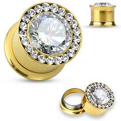 Plugi 6mm, Large Centered CZ in Gold