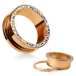 Tunneli 5mm, AB Crystals Rim Rose Gold